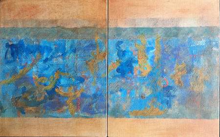 """Untitled"" Mixed Medium, oil on linen, diptych, 14x22""w"