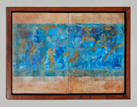 """Untitled"" Mixed Medium, oil on linen, diptych, framed 16.25x24.25w"