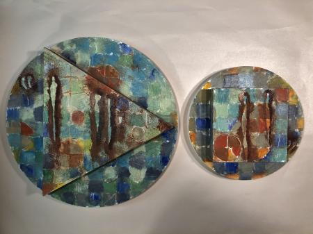 DIPTYCH: Unhinged, oil on panel, 12x20.5"